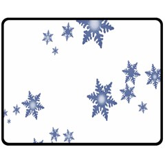Star Snow Blue Rain Cool Double Sided Fleece Blanket (medium)  by AnjaniArt