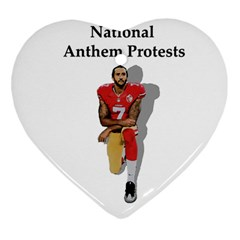 National Anthem Protest Heart Ornament (two Sides) by Valentinaart