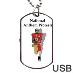 National Anthem Protest Dog Tag Usb Flash (two Sides) by Valentinaart
