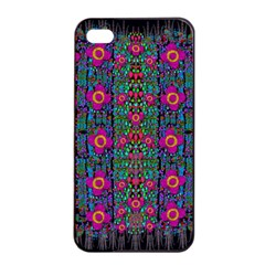 Flowers From Paradise Colors And Star Rain Apple Iphone 4/4s Seamless Case (black) by pepitasart
