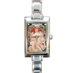 Alfons Mucha   F  Champenois Imprimeur ¨|diteur Rectangle Italian Charm Watch by 8fugoso