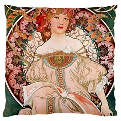 Alfons Mucha   F  Champenois Imprimeur ¨|diteur Large Flano Cushion Case (one Side) by 8fugoso