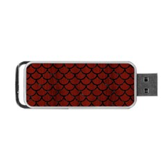 Scales1 Black Marble & Reddish Brown Wood Portable Usb Flash (one Side) by trendistuff
