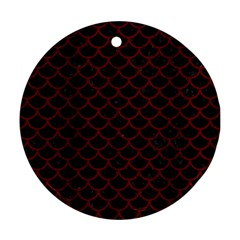 Scales1 Black Marble & Reddish Brown Wood (r) Round Ornament (two Sides) by trendistuff