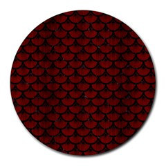 Scales3 Black Marble & Reddish Brown Wood Round Mousepads by trendistuff
