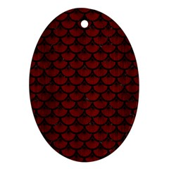 Scales3 Black Marble & Reddish Brown Wood Oval Ornament (two Sides) by trendistuff