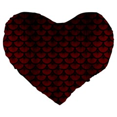Scales3 Black Marble & Reddish Brown Wood Large 19  Premium Flano Heart Shape Cushions