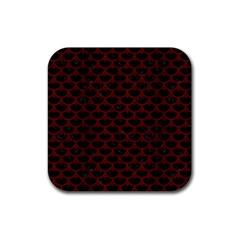Scales3 Black Marble & Reddish Brown Wood (r) Rubber Square Coaster (4 Pack)  by trendistuff