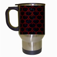 Scales3 Black Marble & Reddish Brown Wood (r) Travel Mugs (white) by trendistuff