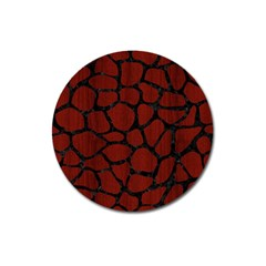 Skin1 Black Marble & Reddish Brown Wood (r) Magnet 3  (round) by trendistuff