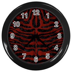 Skin2 Black Marble & Reddish Brown Wood (r) Wall Clocks (black) by trendistuff