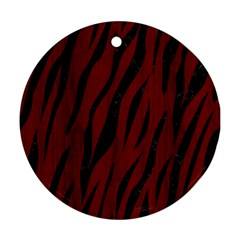 Skin3 Black Marble & Reddish Brown Wood Round Ornament (two Sides) by trendistuff