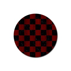 Square1 Black Marble & Reddish Brown Wood Rubber Coaster (round)  by trendistuff