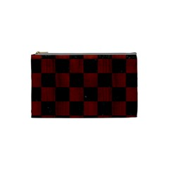 Square1 Black Marble & Reddish Brown Wood Cosmetic Bag (small)  by trendistuff