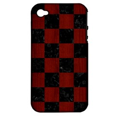 Square1 Black Marble & Reddish Brown Wood Apple Iphone 4/4s Hardshell Case (pc+silicone)