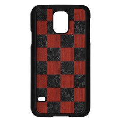 Square1 Black Marble & Reddish Brown Wood Samsung Galaxy S5 Case (black) by trendistuff