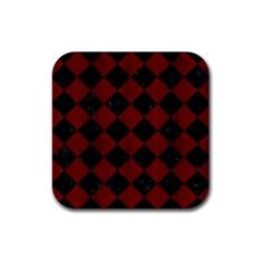 Square2 Black Marble & Reddish Brown Wood Rubber Square Coaster (4 Pack)  by trendistuff