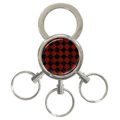 Square2 Black Marble & Reddish Brown Wood 3 Ring Key Chains by trendistuff