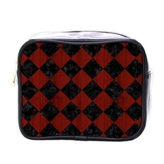 Square2 Black Marble & Reddish Brown Wood Mini Toiletries Bags by trendistuff