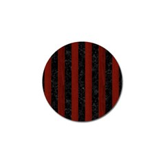 Stripes1 Black Marble & Reddish Brown Wood Golf Ball Marker (10 Pack) by trendistuff