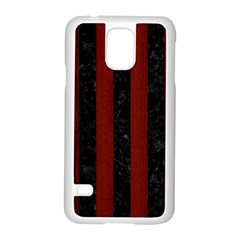 Stripes1 Black Marble & Reddish Brown Wood Samsung Galaxy S5 Case (white) by trendistuff