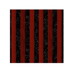 Stripes1 Black Marble & Reddish Brown Wood Small Satin Scarf (square)