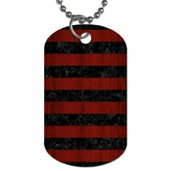 Stripes2 Black Marble & Reddish Brown Wood Dog Tag (two Sides) by trendistuff