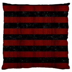 Stripes2 Black Marble & Reddish Brown Wood Large Flano Cushion Case (one Side) by trendistuff