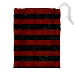 Stripes2 Black Marble & Reddish Brown Wood Drawstring Pouches (xxl) by trendistuff