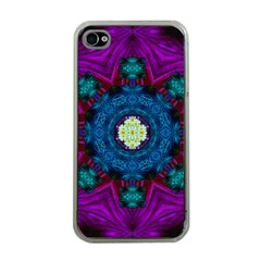 Sunshine Mandala And Fantasy Snow Floral Apple Iphone 4 Case (clear) by pepitasart