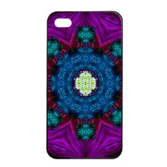 Sunshine Mandala And Fantasy Snow Floral Apple Iphone 4/4s Seamless Case (black) by pepitasart