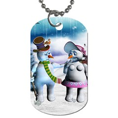 Funny, Cute Snowman And Snow Women In A Winter Landscape Dog Tag (two Sides) by FantasyWorld7