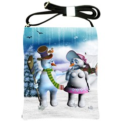 Funny, Cute Snowman And Snow Women In A Winter Landscape Shoulder Sling Bags by FantasyWorld7