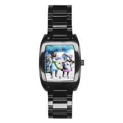 Funny, Cute Snowman And Snow Women In A Winter Landscape Stainless Steel Barrel Watch by FantasyWorld7