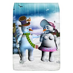 Funny, Cute Snowman And Snow Women In A Winter Landscape Flap Covers (l)  by FantasyWorld7