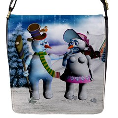 Funny, Cute Snowman And Snow Women In A Winter Landscape Flap Messenger Bag (s) by FantasyWorld7