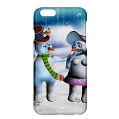 Funny, Cute Snowman And Snow Women In A Winter Landscape Apple Iphone 6 Plus/6s Plus Hardshell Case by FantasyWorld7