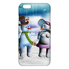 Funny, Cute Snowman And Snow Women In A Winter Landscape Iphone 6 Plus/6s Plus Tpu Case by FantasyWorld7