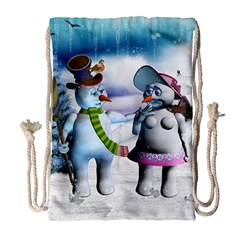 Funny, Cute Snowman And Snow Women In A Winter Landscape Drawstring Bag (large) by FantasyWorld7