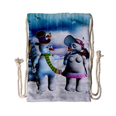 Funny, Cute Snowman And Snow Women In A Winter Landscape Drawstring Bag (small)