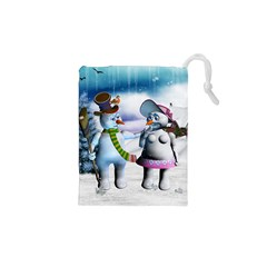 Funny, Cute Snowman And Snow Women In A Winter Landscape Drawstring Pouches (xs)  by FantasyWorld7