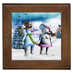 Funny, Cute Snowman And Snow Women In A Winter Landscape Framed Tiles by FantasyWorld7