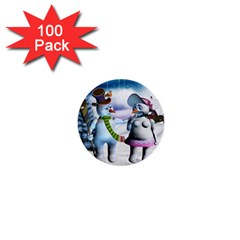 Funny, Cute Snowman And Snow Women In A Winter Landscape 1  Mini Buttons (100 Pack)  by FantasyWorld7