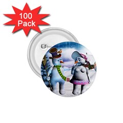 Funny, Cute Snowman And Snow Women In A Winter Landscape 1 75  Buttons (100 Pack)  by FantasyWorld7