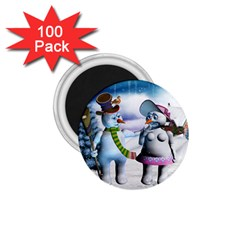 Funny, Cute Snowman And Snow Women In A Winter Landscape 1 75  Magnets (100 Pack)  by FantasyWorld7