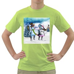 Funny, Cute Snowman And Snow Women In A Winter Landscape Green T Shirt by FantasyWorld7