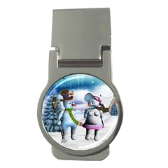 Funny, Cute Snowman And Snow Women In A Winter Landscape Money Clips (round)  by FantasyWorld7
