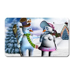 Funny, Cute Snowman And Snow Women In A Winter Landscape Magnet (rectangular) by FantasyWorld7