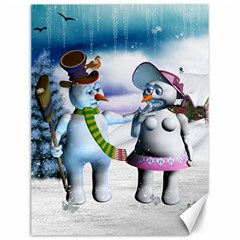 Funny, Cute Snowman And Snow Women In A Winter Landscape Canvas 12  X 16   by FantasyWorld7