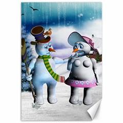 Funny, Cute Snowman And Snow Women In A Winter Landscape Canvas 12  X 18   by FantasyWorld7